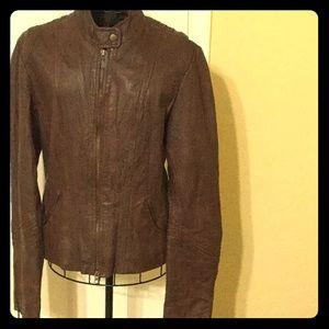 Brown leather moto jacket EUC